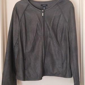 Grey Alfani Faux Leather Jacket